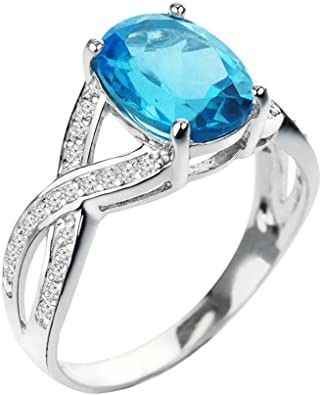 PRECIOUS 3 CT OVAL CUT AQUAMARINE  925 STERLING SILVER RING SIZE 5-10