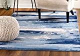 MADISON COLLECTION WF-YG3X-P58M 408 Modern Abstract Blue Area Rug Clearance Soft and Durable Pile. Size Option (3′.7″ x 5′), 3′.7″ x 5′