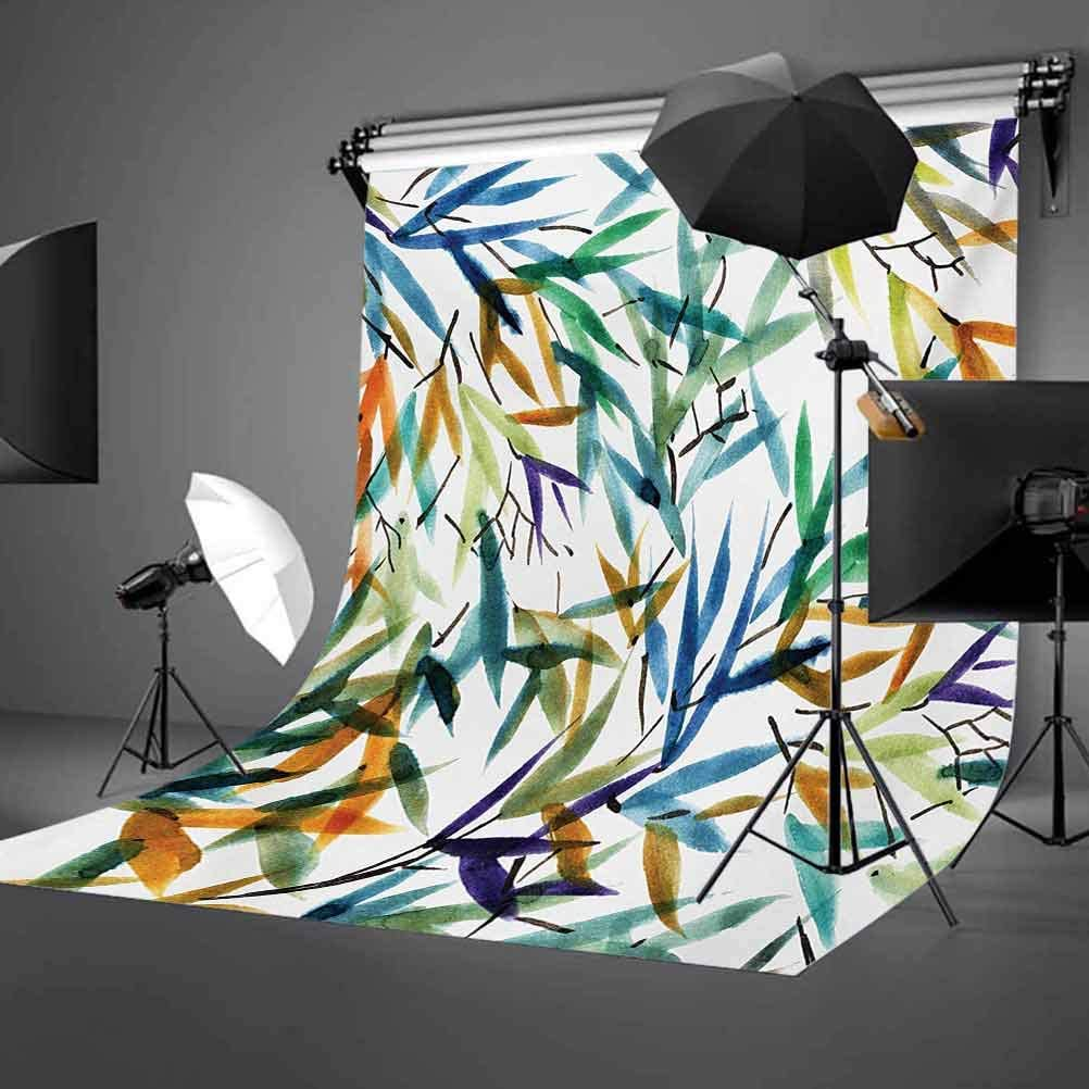 6x8 FT Photo Backdrops,Colorful Bamboo Tree Leaves Hand Drawn Style Spiritual Plants Picture Print Background for Kid Baby Boy Girl Artistic Portrait Photo Shoot Studio Props Video Drape Vinyl