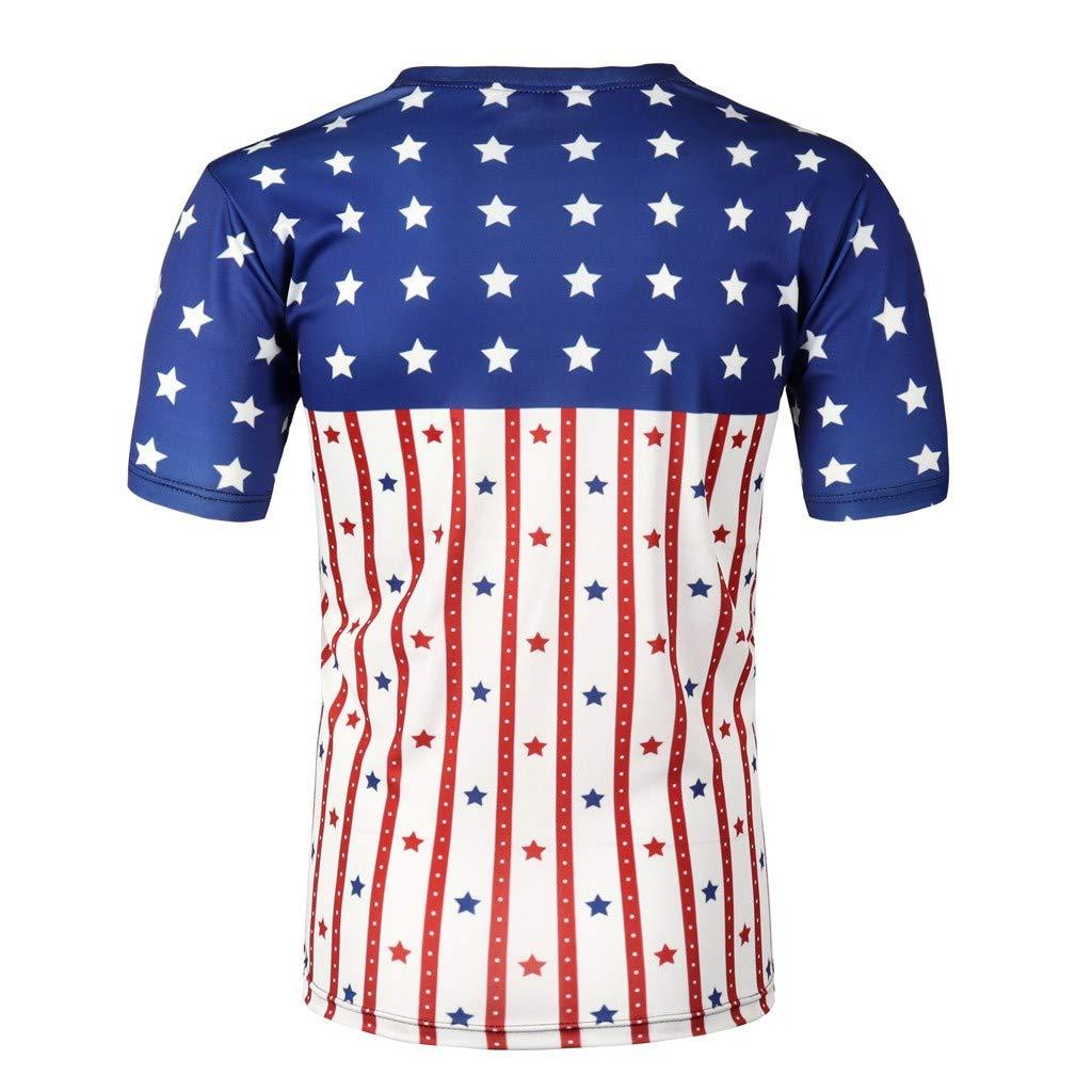 Graysky Mens Summer New Independence Day 3D Printing T-Shirts Short Sleeves Comfor Tee Shirt Tops
