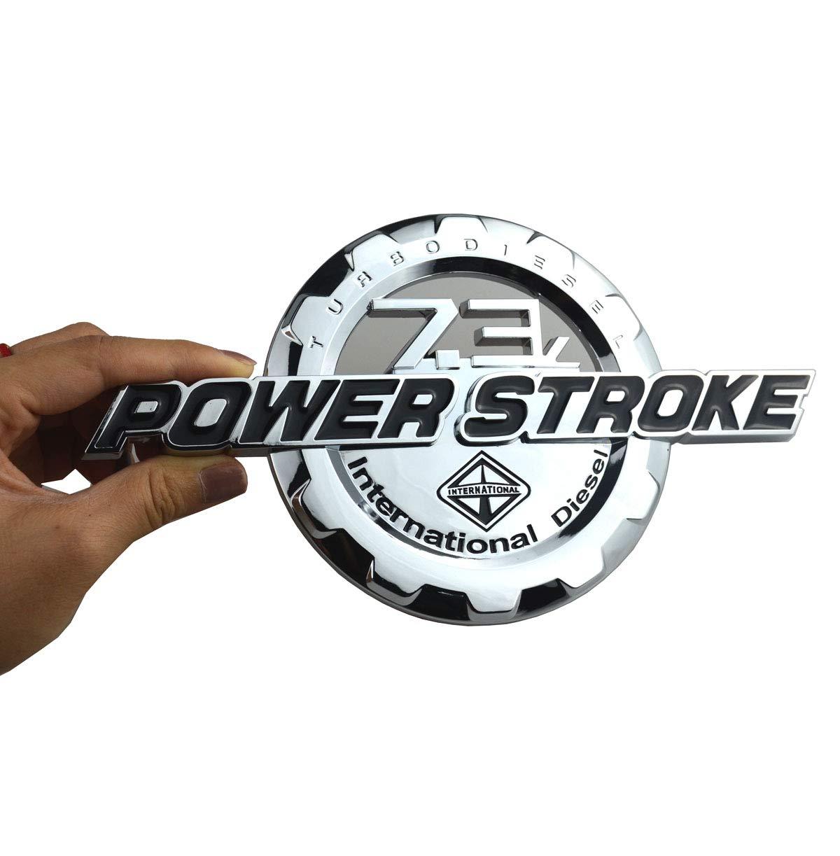 Chrome 4Pcs 7.3L POWER STROKE International Diesel Plus PLATINUM Emblem 3D Badge Powerstroke Replacement for F250 F350 Pickup