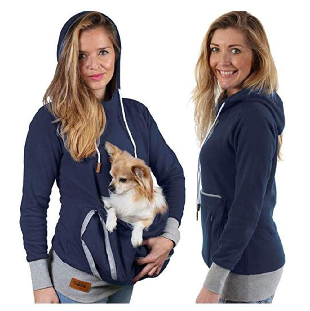 Pet Pouch Hoodie - Cat Dog Holder Cuddle Sweatshirt - Large Kangaroo Carrier Pocket - No Ears Paws - Womens Fit Navy by mamak