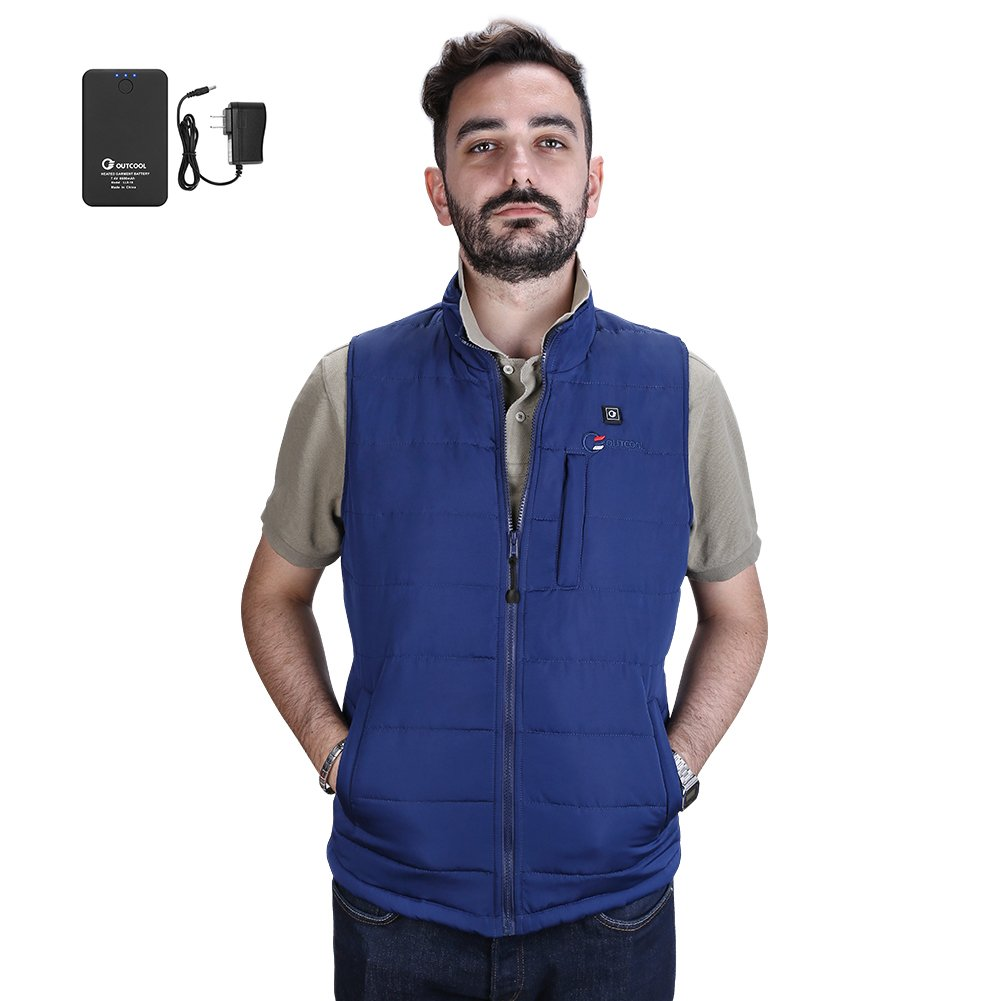 OUTCOOL Men's Heated Vest Light Weight Insulated Heated Down Vest Heating Winter Vest (L)