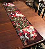 Santa, Christmas, Holiday Table Runner 13x72 inches