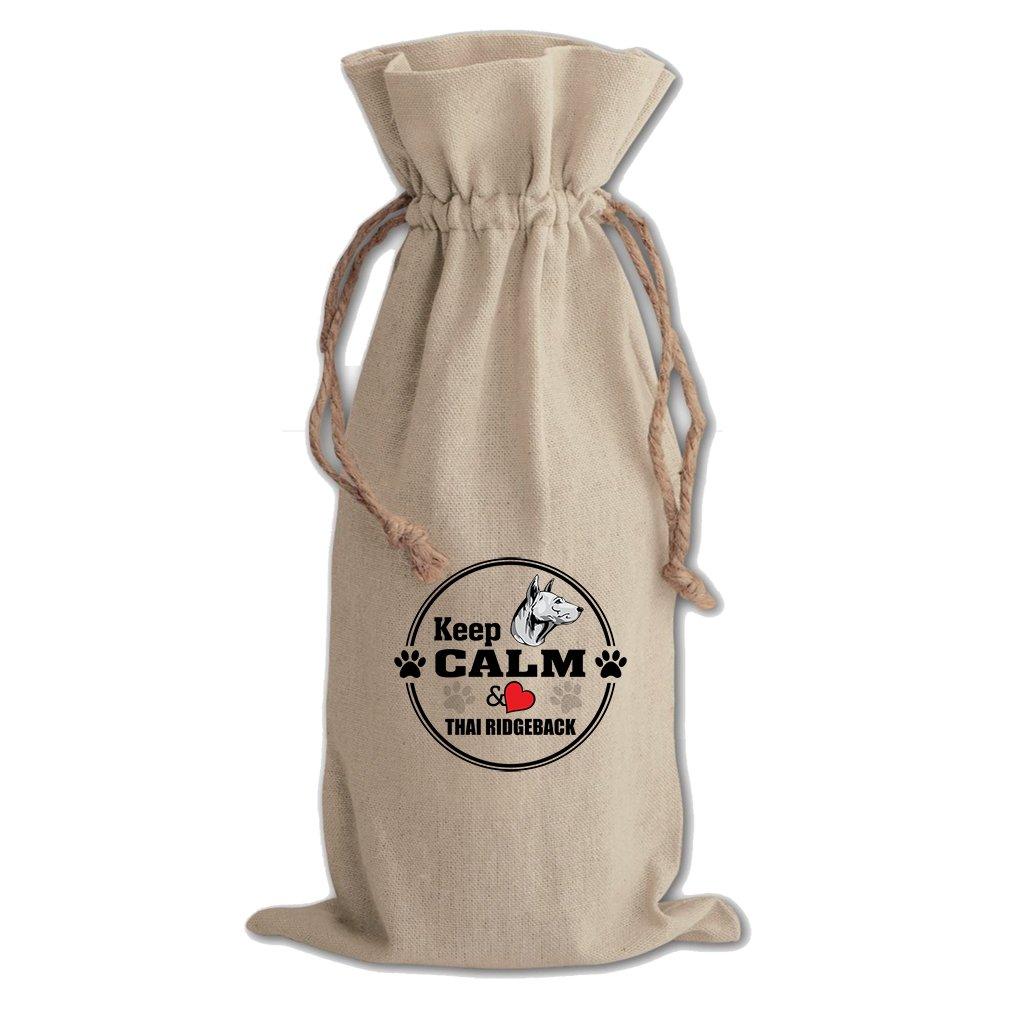 Canvas Wine Drawstring Bag Keep Calm Love Thai Ridgeback Dog Style In Print by Style in Print