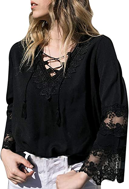 Women Summer Solid Long Sleeve Tie Up Lace Blouse Ladies Baggy Shirt Tops Blouse