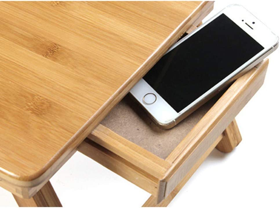 Wooden Bamboo Laptop Desk Designed with USB Cooling Fan with Storage Drawer Suitable for Bed Office Study,5534cm