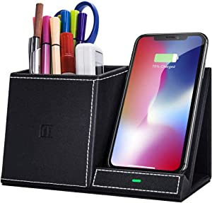 FutureCharger Pen Holder Desk Stand Organizer,10W Fast Wireless Charger, Desk Accessories, for iPhone SE 2020/11/11 Pro/11 Pro Max/Xs MAX/XR/XS/X/8,Galaxy S20/Note 10/S10 Plus