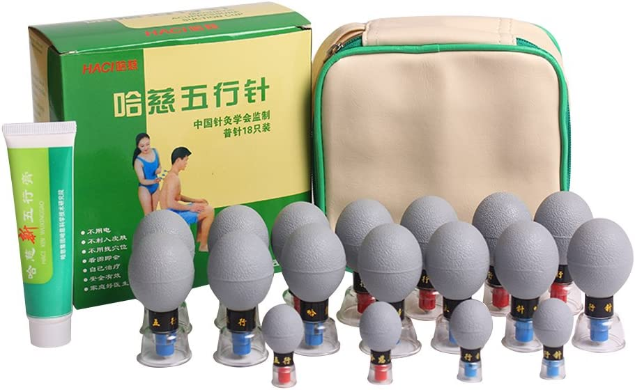 MQ Chinese Biomagnetic Cupping Therapy Set Acupressure Therapy Massage Tool for Pain Relief - 18-Cup Vacuum Suction Cupping Set