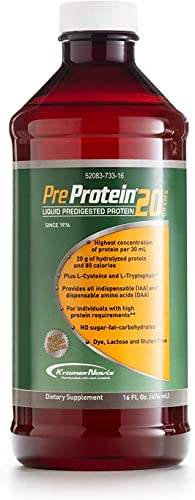 Pre-Protein 20 Mango Liquid Predigested Protein Sugar, Fat, Carb-Free, 16 oz. Bottle