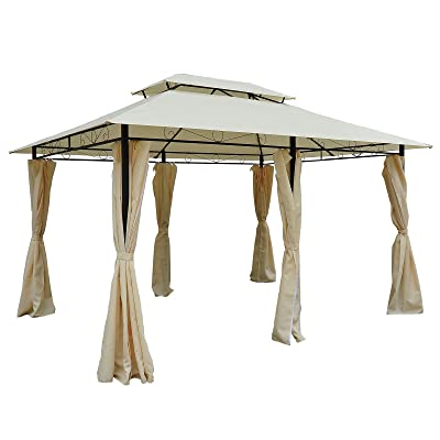 Outsunny 10' x 13' 2-Tier Steel Outdoor Garden Gazebo with Vented Soft Top Canopy and Removable Curtains, Cream White : Garden & Outdoor
