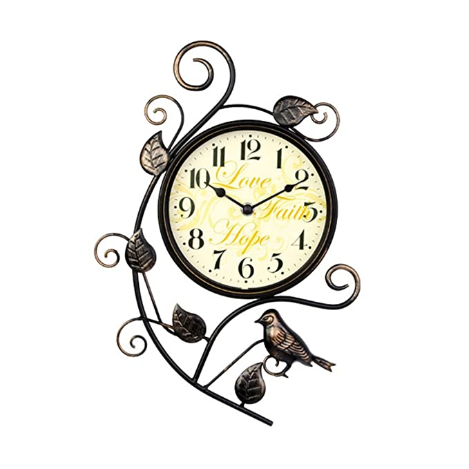 Amazon.com: Wall Clock Saat Relogio De Parede Digital Mute Clock Reloj Duvar Saati Retro Creative Iron Arts Bird Watch: Home & Kitchen