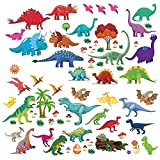 kids bedroom sticker wall murals Dinosaur Wall Decals, Decorative Dino Stickers for Boys & Girls Room, Peel and Stick Colorful Wall Art Mural for Bedroom, Baby Nursery, Bathroom, Playroom, Removable Vinyl Home Decor, 81 Pieces