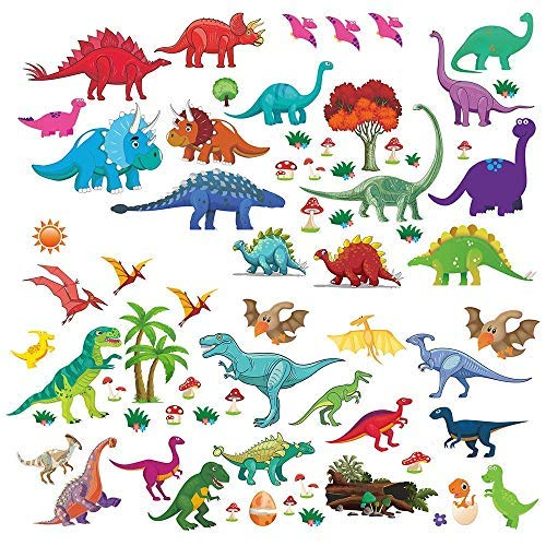 Dinosaur Wall Decals, Decorative Dino Stickers for Boys & Girls Room, Peel and Stick Colorful Wall Art Mural for Bedroom, Baby Nursery, Bathroom, Playroom, Removable Vinyl Home Decor, 81 Pieces ()