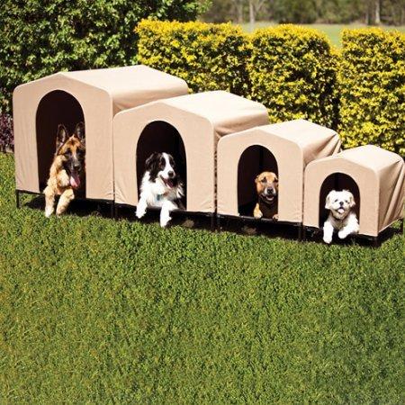 PortablePET HoundHouse Large Khaki Elevated Dog House, Large