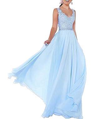 6936c6489ff729 Beyonddress Damen Chiffon Abendkleider Lang Hochzeit V-Ausschnitt  Brautkleid Ballkleider Brautjungfern Kleider(Blau,