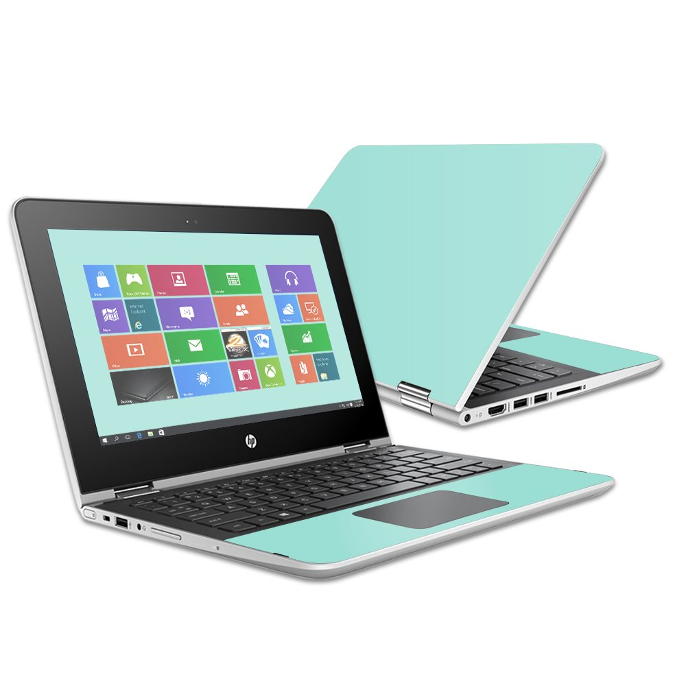 MightySkins Protective Vinyl Skin Decal for HP Pavilion x360 11.6'' (2016) wrap Cover Sticker Skins Solid Seafoam