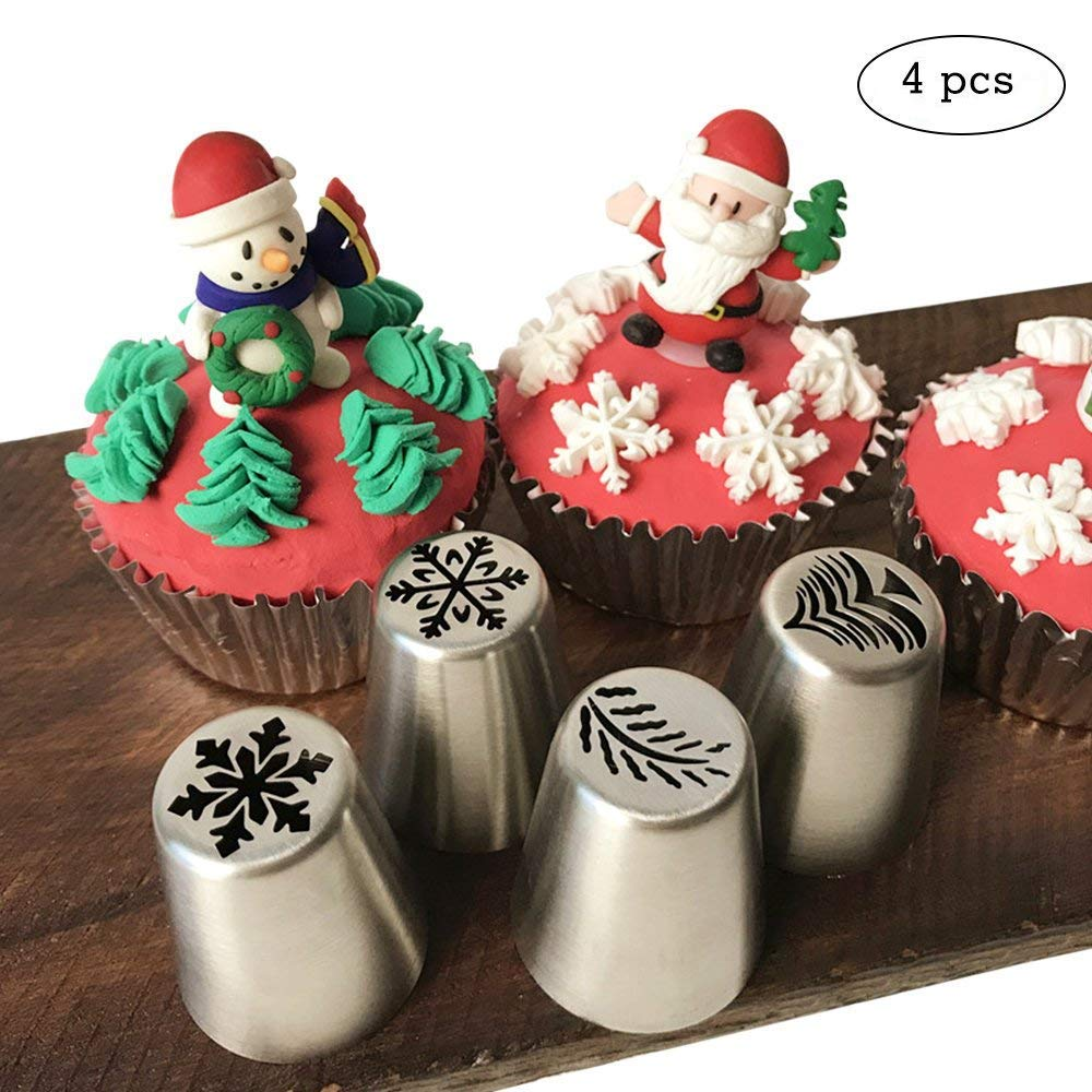 4 PCS Christmas Pastry Icing Piping Nozzles,Special Stainless Steel Russian Piping Tips Set,Cake Decorating Tools(1 Christmas Tree,2 Snowflake,1 Leaf)
