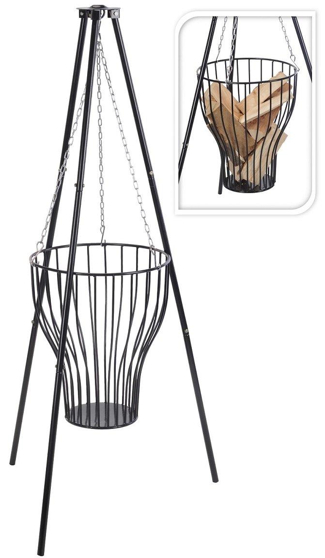 Feuerkorb aus Stahl mit Gestell 80cm hoch Hänge-Feuerkorb Garten-Deko Garten-Zubehör Feuer-Schale