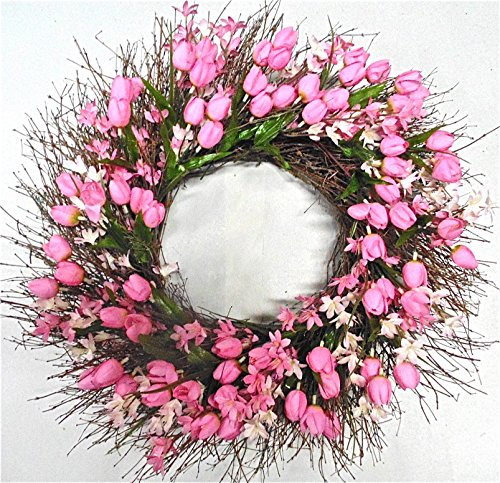 Early Morning Spring Wreath Pink Tulip Wreath For Door