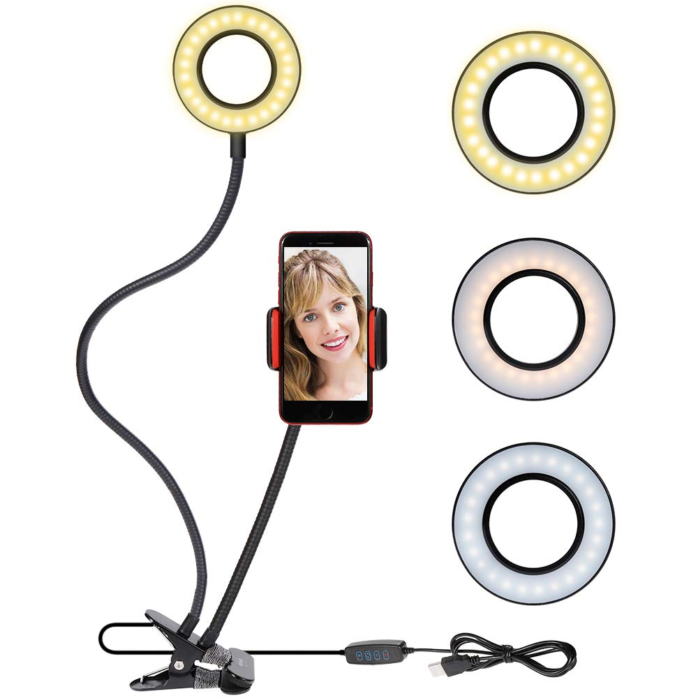 Selfie Ring Light Cellphone Holder - Rovtop Ring Light Stand Live Stream Makeup, 48 LED Bulbs 3 Light Modes 10-Level Brightness 360 Rotating for iPhone Android Cell Phone, Black by Rovtop