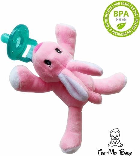Chupete de Conejo de silicona, animal de peluche Binky, chupete suave Chupete de dentición animal extraíble para bebé con sujetador de chupete para bebés y niños pequeños Conejo: Amazon.es: Bebé