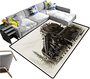 Steam Engine Carpet mat Antique Northern Express Train Canada Railways Photo Freight Machine Print for Kitchen Rugs Black Grey (5'x7')