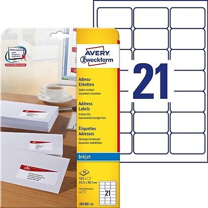 Avery Zweckform J8160-25 etiqueta de impresora Blanco ...