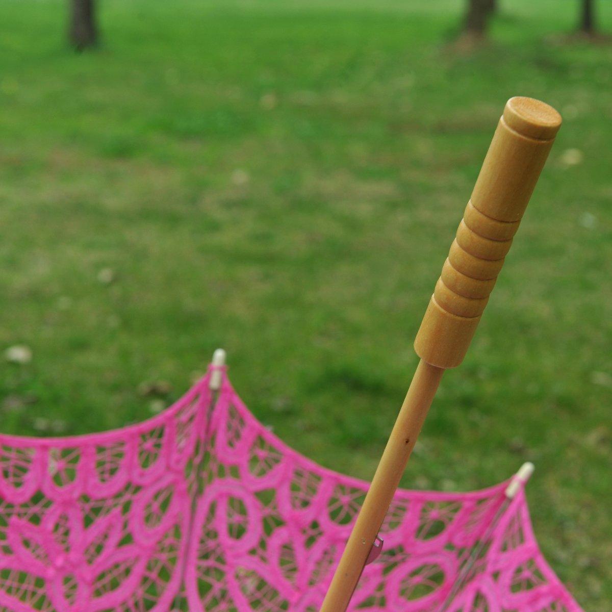 Topwedding Classic Cotton Lace Parasol Umbrella Bridal Shower Decoration, Fuschia by Topwedding (Image #10)