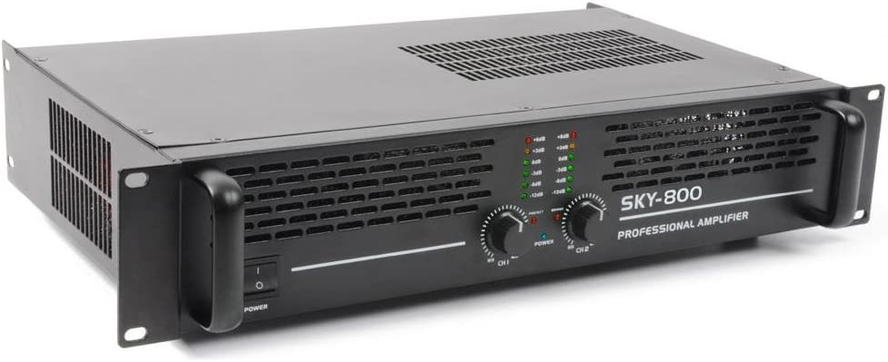 Skytec Sky-800MKII Amplificatore finale di potenza Hi-Fi 800 Watt, 1 // 2 canali, ponticellabile