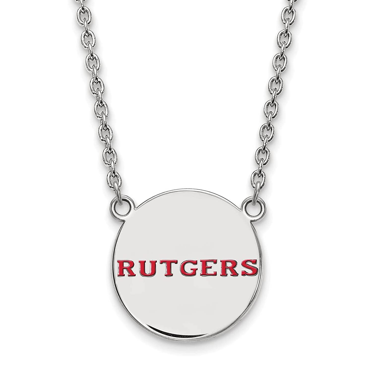 Sterling Silver Rhodium-plated Laser-cut Rutgers University Large Enameled Disc Pendant w//Necklace 18