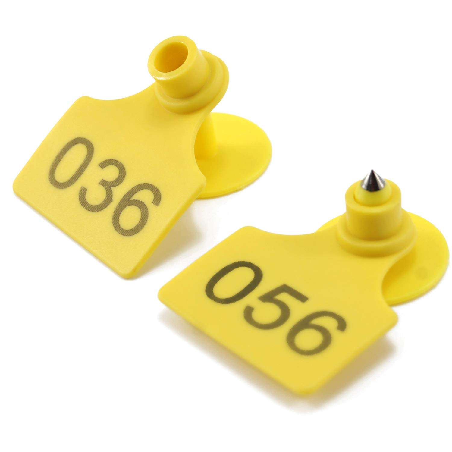 Livestock Identification Number Farm Animal Ear Tags for Goats Sheep Cattle Cows Pigs Rabbit Plastic TPU Precision Ear Tags 100pcs, Yellow by Geentai