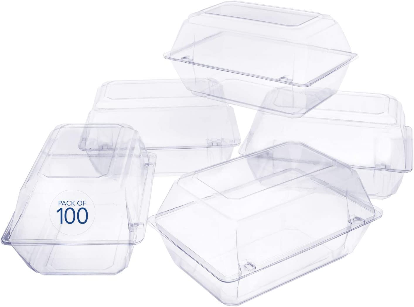 100 Pack Clear Plastic Flower Box for Corsage, Boutonniere, Rose, Orchid Prom Wedding Craft Container 9x6x5
