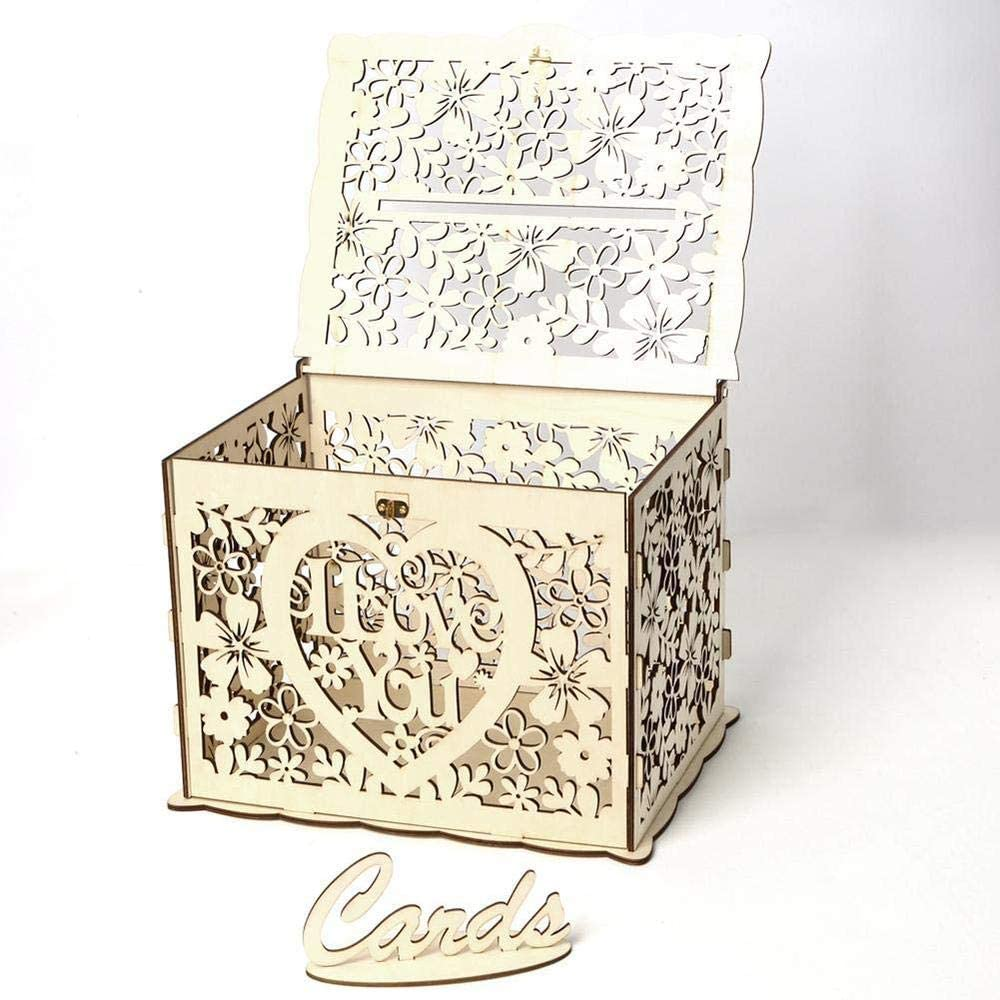 Aeromdale Wooden Wedding Card Post Box with Lock and Card Sign DIY Rustic Hollow Gift Card Boxes for Wedding Birthday Baby Shower Parties 25 x 20 x 18.3 cm Floral