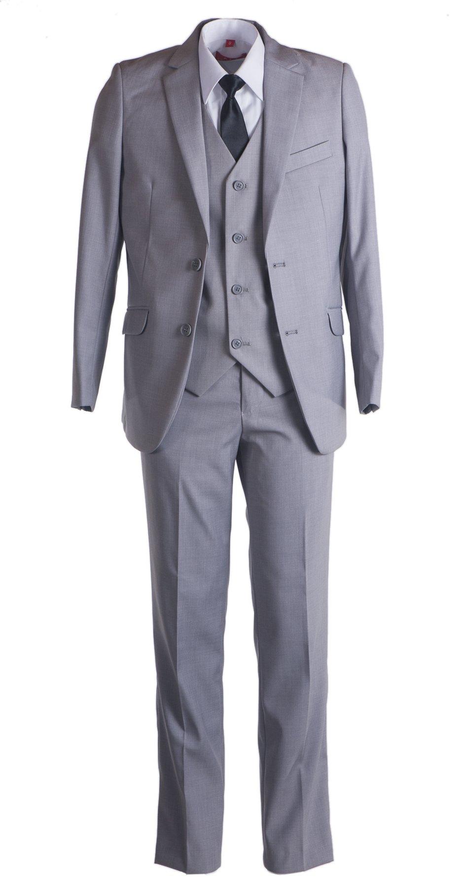 Boys Slim Fit Suit Light Grey with Black Dress Tie (6)