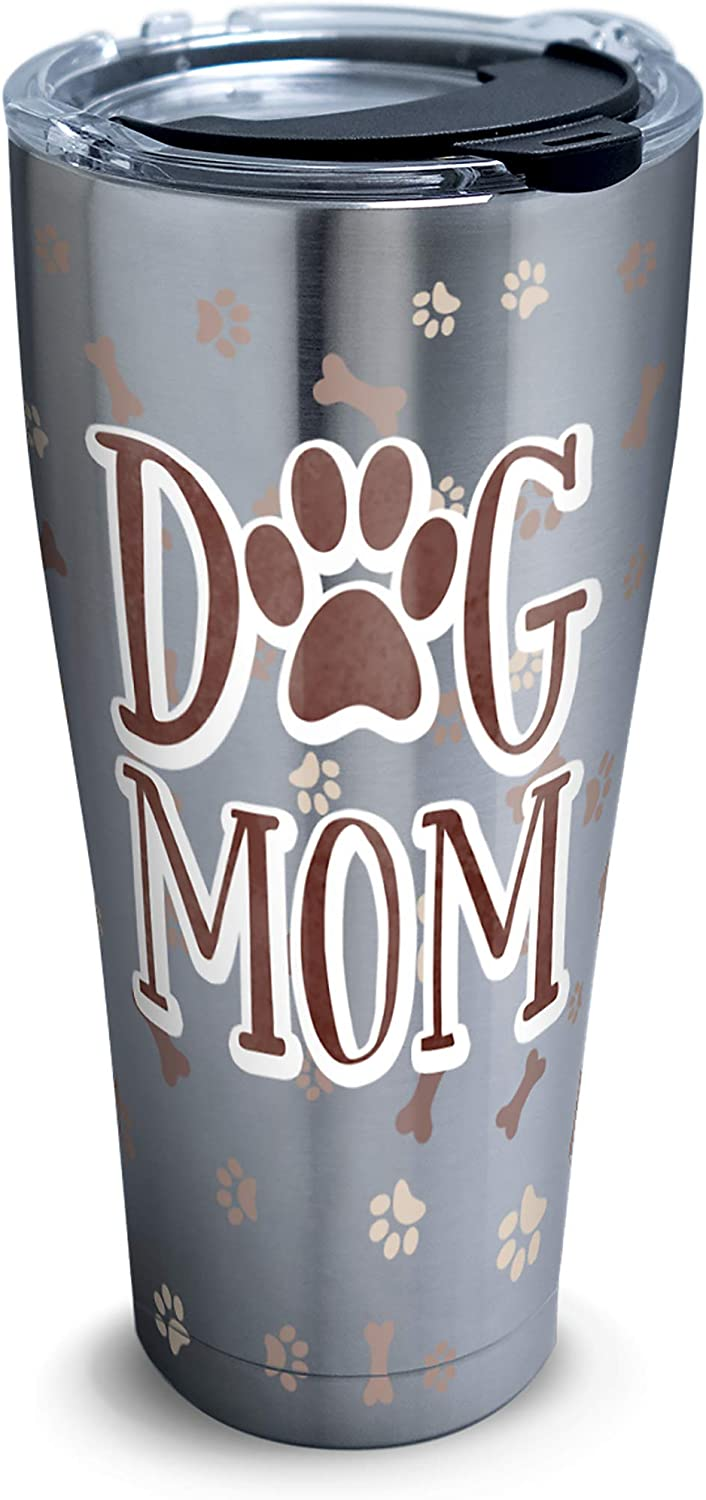 Tervis Dog Mom Insulated Tumbler with Clear and Black Hammer Lid, 30 oz Stainless Steel, Silver