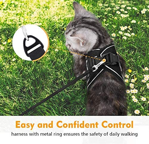 rabbitgoo Cat Harness and Leash Set for Walking Escape Proof, Adjustable Soft Kittens Vest with Reflective Strip for Cats, Step-in Comfortable Outdoor Vest 27