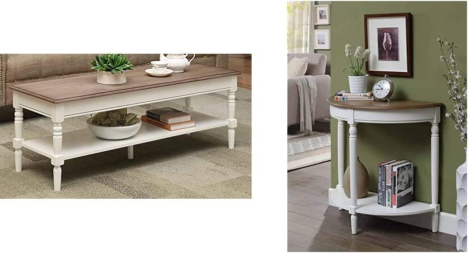 Convenience Concepts French Country Coffee Table, Driftwood/White & French Country Entryway Table, Driftwood Top/White Frame
