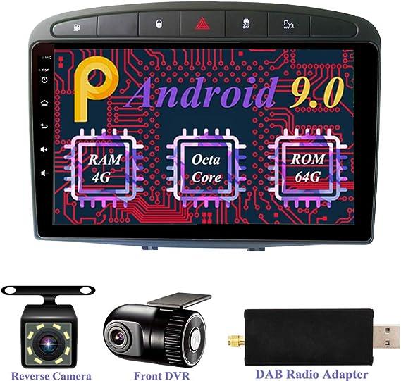 Dimost Android 9.0 Autoradio 9 Pulgadas 1 DIN 8-Core 4GB RAM 64GB ROM GPS Navegador del Coche estéreo In Dash Car Radio para Peugeot 308 Black (2008-2010) (con cámara, DVR, Dab): Amazon.es: Electrónica