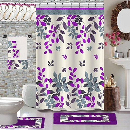 18 Piece High Quality Floral Designs Banded Shower Curtain Bath Set,1,Bath Rug,1 Contour Rug 1, shower curtain 12 Metal Crystal Roller Ball Shower Hooks,3Pcs Matching towel set! (Forest Purple) (Matching Bathroom Accessories Sets)