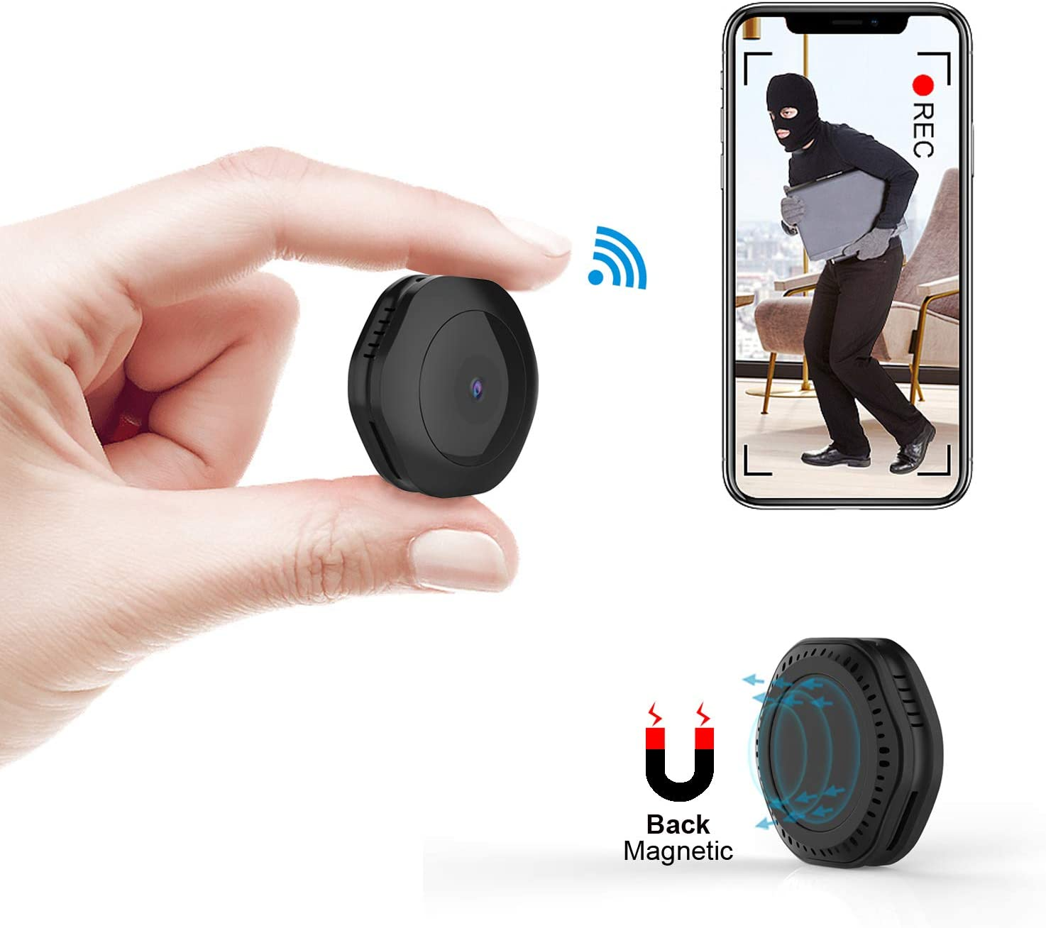Mini WiFi Camera,CHUHE FHD 1080P Hidden Spy Cameras Wireless Portable Body Nanny Cam Indoor Outdoor Security Small Camera with Motion Detection Night Vision