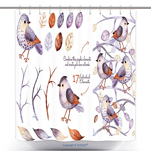 nche.Hand Painted With 17Watercolor Elements.Set Collection Of Floral Elements For Your Composition.Can Be Used For Invitation, Pattern, Blogs_51518323 Polyester Bathroom Shower Curtain Set With Hooks (Rangers Blog)