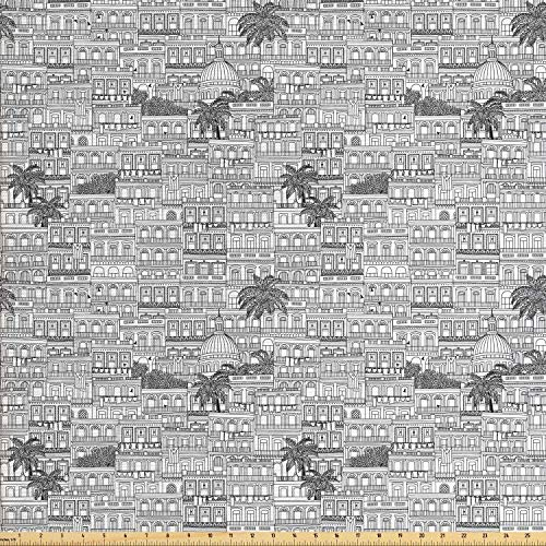 (Lunarable Havana Fabric by The Yard, Detailed Pencil Drawn Cuban Cities Architecture and Palm Trees, Decorative Fabric for Upholstery and Home Accents, Charcoal Grey and Off White)