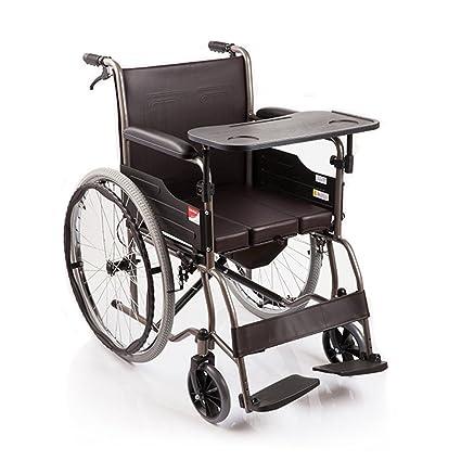 Yuwell Premium Medical - Silla de ruedas con freno de mano, reposapiés plegable, cojín
