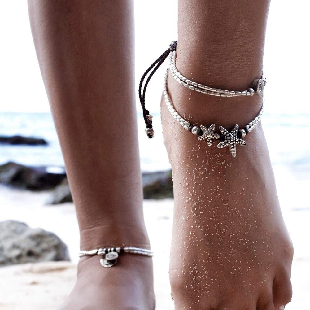 bjduck99 Lady Ethnic Double Layers Starfish Charm Braided Rope Barefoot Bracelet Anklet
