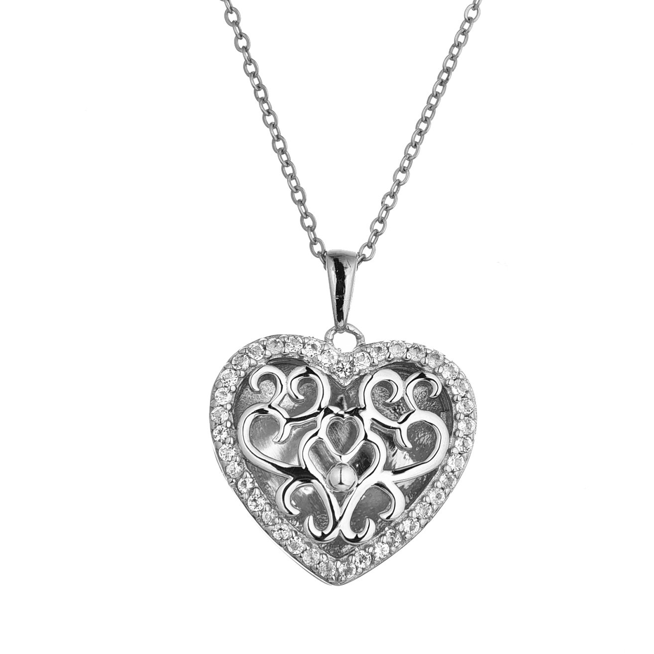 Sterling Silver-White Topaz-Heart-Custom Photo Locket Necklace-26-inch chain-The Mary by With You Lockets