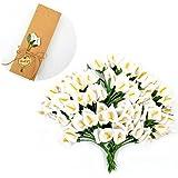 JZK 144 Piccolo bouquet calla finta bianco fiore finti fiorellini bomboniera decorazione scatola confetti regalo matrimonio compleanno battesimo Natale