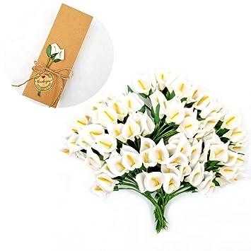 Jzk 144 Mousse Blanc Calla Lis Petites Fleurs Artificielles Pour