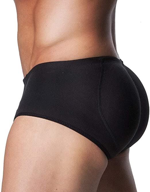 QQA Men Padded Buttocks Bum Enhancer Hip-Up Boxers Panties Underwear 3 Pads,Black+Gray,XL