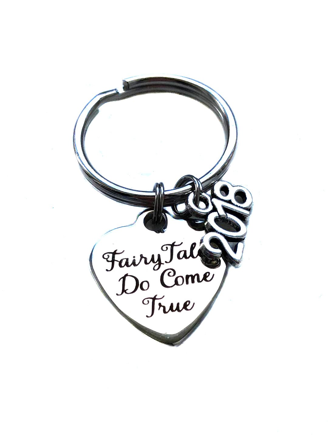 Heart Projects Stainless Steel Fairy Tales Do Come True 2018 Charm, Keychain, Wedding Engagement Bridal Shower Gift